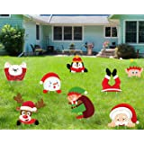 luck sea 8PCS Christmas Yard Signs Stakes Decorations - Xmas Outdoor Yard Sign Lawn Decor Winter Wonderland Ornaments