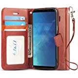 J&D Case Compatible for Galaxy S8 Plus Case, [Wallet Stand] [Slim Fit] Heavy Duty Protective Shock Resistant Flip Cover Walle