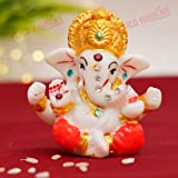 Tied Ribbons Mini Ganesha Statue Sculpture Idol for Car Dashboard Home Temple Decor (2 X 2.3 Inch , L X H) - Diwali Decoratio