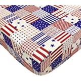 Brandream American Flag Crib Sheets Navy Beige Fitted Crib Sheets with Star Baby/Infant/Toddler/Newborn Crib Mattress Sheets,