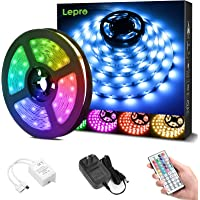Lepro LEDテープライト RGB ledテープライト 5m 屋内用 明るさ調節 鮮やか 20色タイプ 44キーリモ…