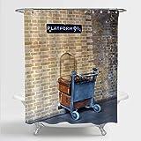 MitoVilla Platform93/4 Bathroom Decor for Vintage Party Decorations, Classic Scene in Harry Potter Film Landmark Shower Cur