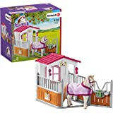 SCHLEICH 42368 Horse Club Stall with Lusitano Horses 12-piece Educational Playset for Kids Ages 5-12