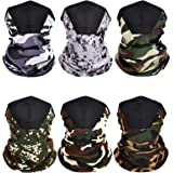 6 Pieces Face Bandanas Neck Gaiters Summer Winter Face Cover Balaclava Scarf with Filter Pocket for Outdoor Activities