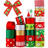 27 Rolls Christmas Ribbon Xmas Grosgrain Ribbon Wrapping Ribbon for Holiday Hair Bows Gift Wrapping, 0.4 Inches, 1 Inches and
