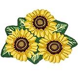 USTIDE 3 Sunflower Rugs For Kitchen Handmade Rug Yellow Flower Floor Mat Modern Carpet Washable Non-Slip Bathroom Mat For Bed