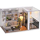 Cute Room DIY Miniature Dollhouse Kit with Furniture,Wooden Doll House Plus LED Lights Dust Cover, DIY House Kit (Genki Life)