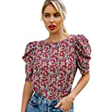 SOLY HUX Women's Ditsy Floral Print Puff Short Sleeve Top Blouse