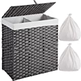 Greenstell Handwoven Laundry Hamper with 2 Removable Liner Bag,Rattan Wicker Laundry Basket with Lid and Handles,Foldable and