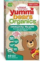 Yummi Bears Organics Immunity Health With Vitamin C, Zinc & Echinacea, Organic Gummy Vitamin for Kids, 45 Count