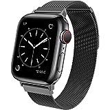 BRG コンパチブル Apple Watch バンド コンパチブル アップルウォッチ バンド ステンレス留め金製 コンパチブル Apple Watch ベルト コンパチブル Apple Watch SE/6/5/4/4 (42mm/44mm, ブラッ