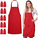 GREEN LIFESTYLE 12 Pack Bib Apron - Unisex Black Apron Bulk Machine Washable for Kitchen Crafting BBQ Drawing Outdoors (Red)