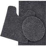 ITSOFT 3pc Non-Slip Shaggy Chenille Bathroom Mat Set, Chenille, Charcoal Gray, Medium