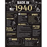 80 Years Ago Birthday or Wedding Anniversary Poster 11 x 14 Party Decorations Supplies Large 80th Party Sign Home Decor for M