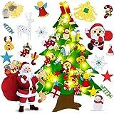 Aniso DIY Felt Christmas Tree, 3.4ft DIY Wall Hanging Xmas Tree with Detachable Ornaments and Led String Light, Christmas Win