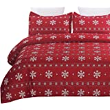 Vaulia Lightweight Microfiber Duvet Cover Set, Snowflake Pattern Design for Christmas Season, Red Color - Queen Size