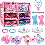 Meland Princess Dress Up Shoes and Jewelry Boutique - 4 Pairs of Play Shoes and Pretend Jewelry Toys Princess Accessories Pla