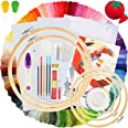Similane Embroidery Kit 215 Pcs,100 Colors Threads,5 Pcs Embroidery Hoops,3 Pcs Aida Cloth,40 Sewing Pins,Cross Stitch Tools