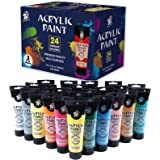 TBC The Best Crafts Acrylic Paint Set, 24 Colors(4 fl.oz/ 120ml) Tudes, Premium Quality Pigment for Beginners and Artist