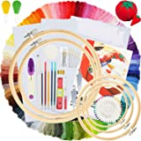 Embroidery Kit 215 Pcs,100 Colors Threads,5 Pcs Embroidery Hoops,3 Pcs Aida Cloth,40 Sewing Pins,Cross Stitch Tools and Embro