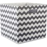 """DII Hard Sided Collapsible Fabric Storage Container for Nursery, Offices, & Home Organization, (13x13x13"""") - Chevron Gray"""