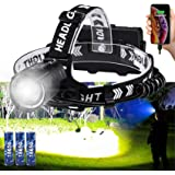 Brightest Rechargeable Headlamp Spot Wide Beam with Back Flash Red Light 90 Degree Adjustable Angle High Powered XHP90 LED fo