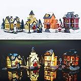 ZornRC Christmas Scene Village LED Illuminated Snow House Christmas Decor Miniature Ornaments Winter Decor(12 PCS)