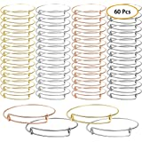 UPINS 60 Pcs Expandable Bangle Bracelets Adjustable Wire Bracelets, Stainless Steel Blank Bangles for DIY Jewelry Making