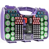 The Battery Organizer Storage Case with Hinged Clear Cover, Includes a Removable Battery Tester, Holds 180 Batteries Various