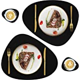Leather Placemats and Coasters Set of 4, Washable Round Table Mat, Waterproof Easy to Clean Heat Resistant Non Slip Anti-Skid