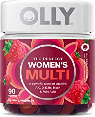 OLLY The Perfect Womens Gummy Multivitamin Chewable Supplement, 45 Day Supply, Berry, (pack of 90)