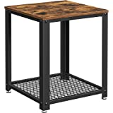 VASAGLE Industrial End, 2-Tier Side Table with Storage Shelf, Sturdy and Easy Assembly, Wood Look Accent Furniture with Metal