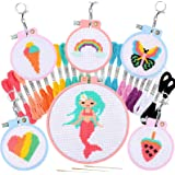 Pllieay 6 PCS Cross Stitch Beginner Projects for Kids Needle Point Starter Kit Sewing Set for Backpack Charms, Needle Craft a
