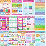 TOYANDONA 14pcs Educational Preschool Posters Nursery Teaching Posters Wall Chart with 80pcs Glue Point Dot for Toddler Kid H