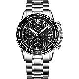 腕時計 メンズ腕時計 シルバー カジュアル ファッション ビジネス 多機能 日付表示 クロノグラフ ステンレス鋼防水 アナログ クォーツ時計 男性腕時計