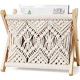 Mkono Macrame Magazine Rack Boho Magazine Holder Storage Basket Towel Rack for Living Room,Bathroom, Office,Rustic Boho Home
