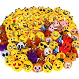 Dreampark 80 Pack Mini Emoji Keychain Plush, Party Favors for Kids, Halloween / Birthday Party Supplies, Emoticon Gifts Toys