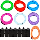 7 Pack - Jytrend 9ft Neon Light El Wire w/ Battery Pack (Green Blue Red Orange Purple White Pink)