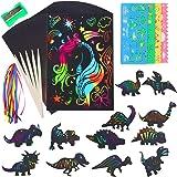 Cyiecw Scratch Art Set, Rainbow Art Scratch Paper- 84Pcs Scratch Off Paper Set Magic Scratch Paper for Kids Black Scratch She