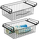 mDesign Large Metal Wire Hanging Pullout Drawer Basket - Sliding Under Shelf Storage Organizer - Attaches to Shelving - Easy