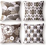 Phantoscope Set of 4 New Living Series Ginkgo Print Decorative Throw Pillow Case Cushion Cover, Coffee, 18 x 18 inches, 45 x