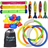 Fayoo 23 Pack Underwater Swimming/Diving Pool Toys Diving Rings(4 Pcs), Toypedo Bandits(4 Pcs), Diving Sticks(3 Pcs) with Und