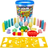 Creative Kids Premium Sidewalk Chalk Art Play Set - Bucket Bundle of Chalk & Educational Game Accessories for Boys & Girls -