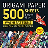 """Origami Paper 500 sheets Japanese Washi Patterns 6"""" (15 cm): High-Quality, Double-Sided Origami Sheets with 12 Different Desi"""