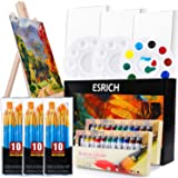 Acrylic Painting Set with 1 Wooden Easel 3 Canvas Panels30 pcs Nylon Hair Brushes 3 PCS Paint Plates and 2 PCS of 12ml Acryli