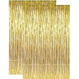 2 pcs Gold Metallic Tinsel Foil Fringe Curtains, Gold Foil Fringe Door Backdrop, 3ft x 8ft Decoration for Birthday Bridal Sho
