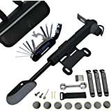 DAWAY A35 Bike Repair Kit - 120 PSI Mini Pump & 16 in 1 Bicycle Multi Tool with Handy Bag Included Glueless Tire Tube Patches