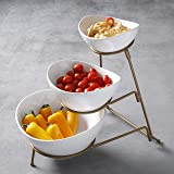 Gibson 3 Tiered Oval Chip And Dip Set With Metal Rack, Three Tier Dessert And Snack Server (Gold)