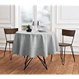 Solino Home 100% Pure Linen Round Tablecloth – 60 Inch Round – Soft Grey