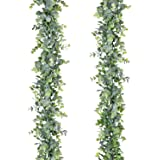 Lvydec Artificial Eucalyptus Leaves Garland - Silk Eucalyptus Greenery Garland with Full Leaves and Flexiable Stems for Weddi